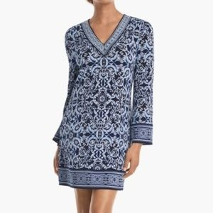 Long Sleeve Printed Knit Shift Dress